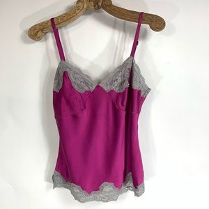 Pink Magenta Silk Lace Trimmed Camisole Sz Small